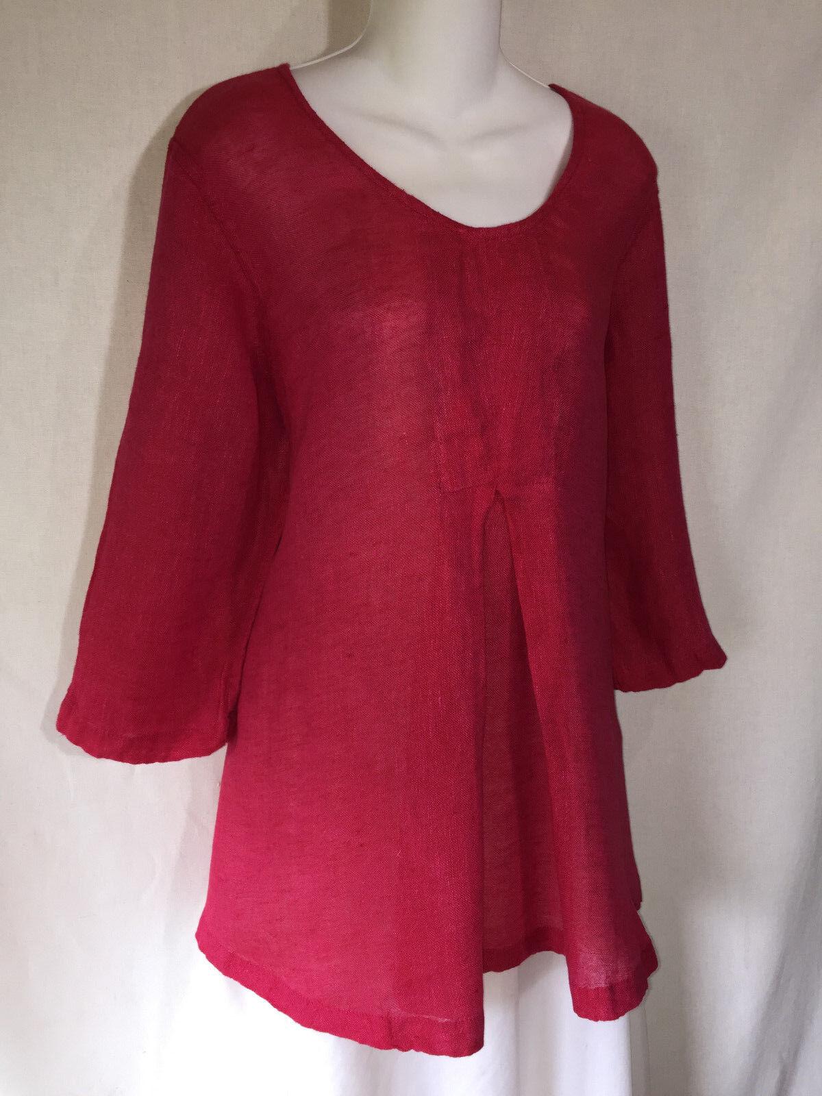 FLAX Jeanne Engelhart Rosa 3 4 Sleeve Long Gauze Linen Flarot Tunic Top Shirt P
