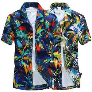 Men-Hawaiian-Print-Casual-Short-T-Shirt-Sports-Beach-Quick-Dry-Blouse-Top-Blouse