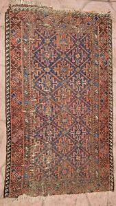 """Antique Tribal Caucasian Wool Carpet Rug Geometric Nomadic kazak 32""""x55"""""""