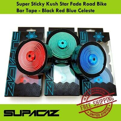 Black Red Blue Celeste Supacaz Kush Star Fade Bike Bar Tape *Super Sticky*
