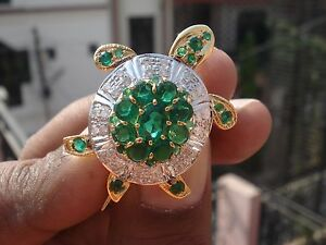 e397d2c02f7 0.90ct Diamond Emerald 14k Yellow Gold Tortoise Ladies Wedding ...