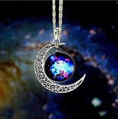 Collier Femme,Homme,Galaxie,Demi Lune,Planète,Bleu,Argent,Tendance,Multicolore