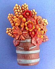 BUY1&GET1@50%~Hallmark PIN Thanksgiving BUCKET of FALL FLOWERS Pail Vtg Brooch