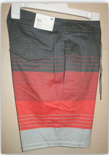 "Goodfellow /& Co Men/'s 8.5/"" Board Shorts Swim Red Orange grey striped Sizes 28-40"