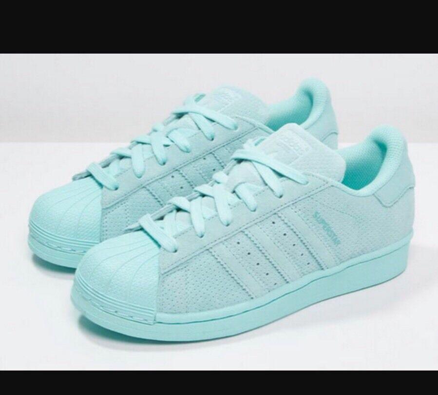 New Adidas Superstar Original Mens Mesh Leather Sneakers 10 US 9.5 UK Mono Aqua