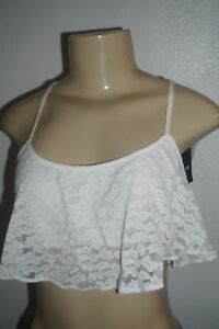 966b3012fba NWT HOLLISTER WOMENS GILLY HICKS WHITE LACE RUFFLE CROP TOP BRALETTE ...