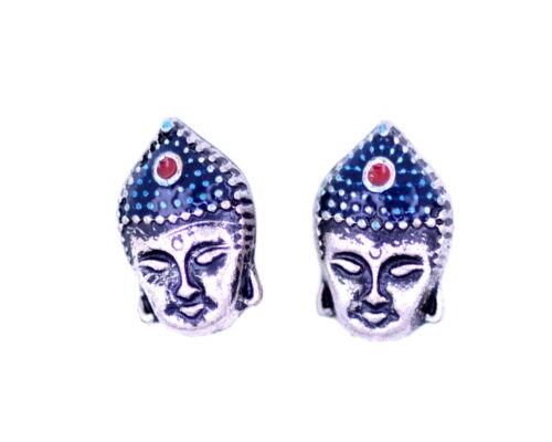 Vintage Retro style Silver Buddha head stud earrings