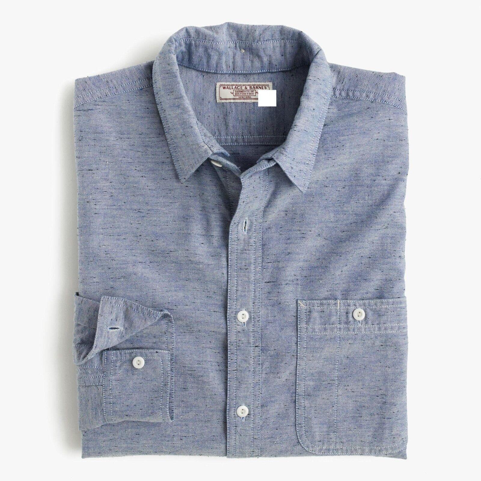 Wallace & Barnes removable-collar indigo oxford shirt, Vintage inspired RRP