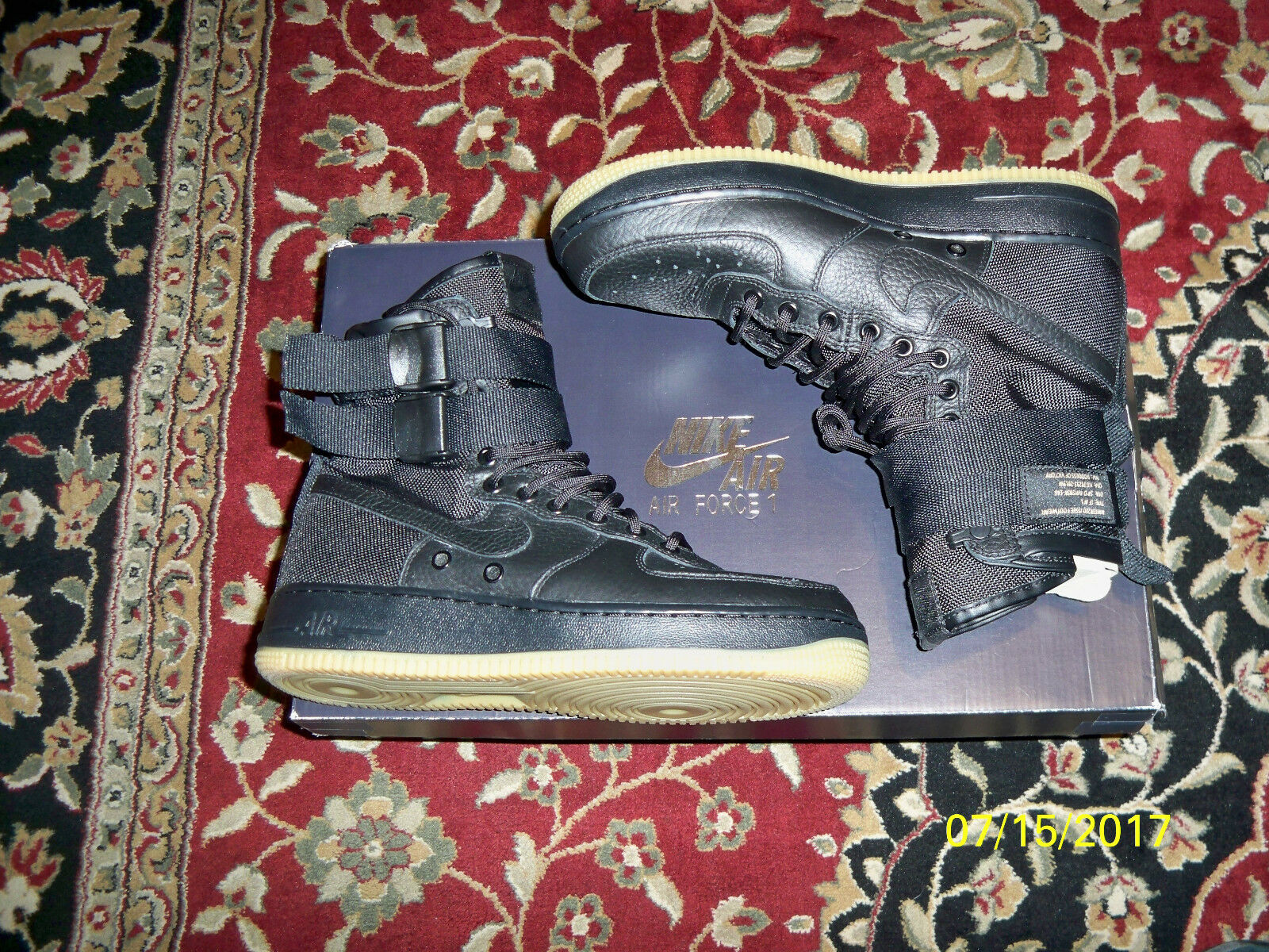 999857bba7f Nike Air Force 1 Special Field SF AF1 Triple Black Gum Sole 864024-001 Size