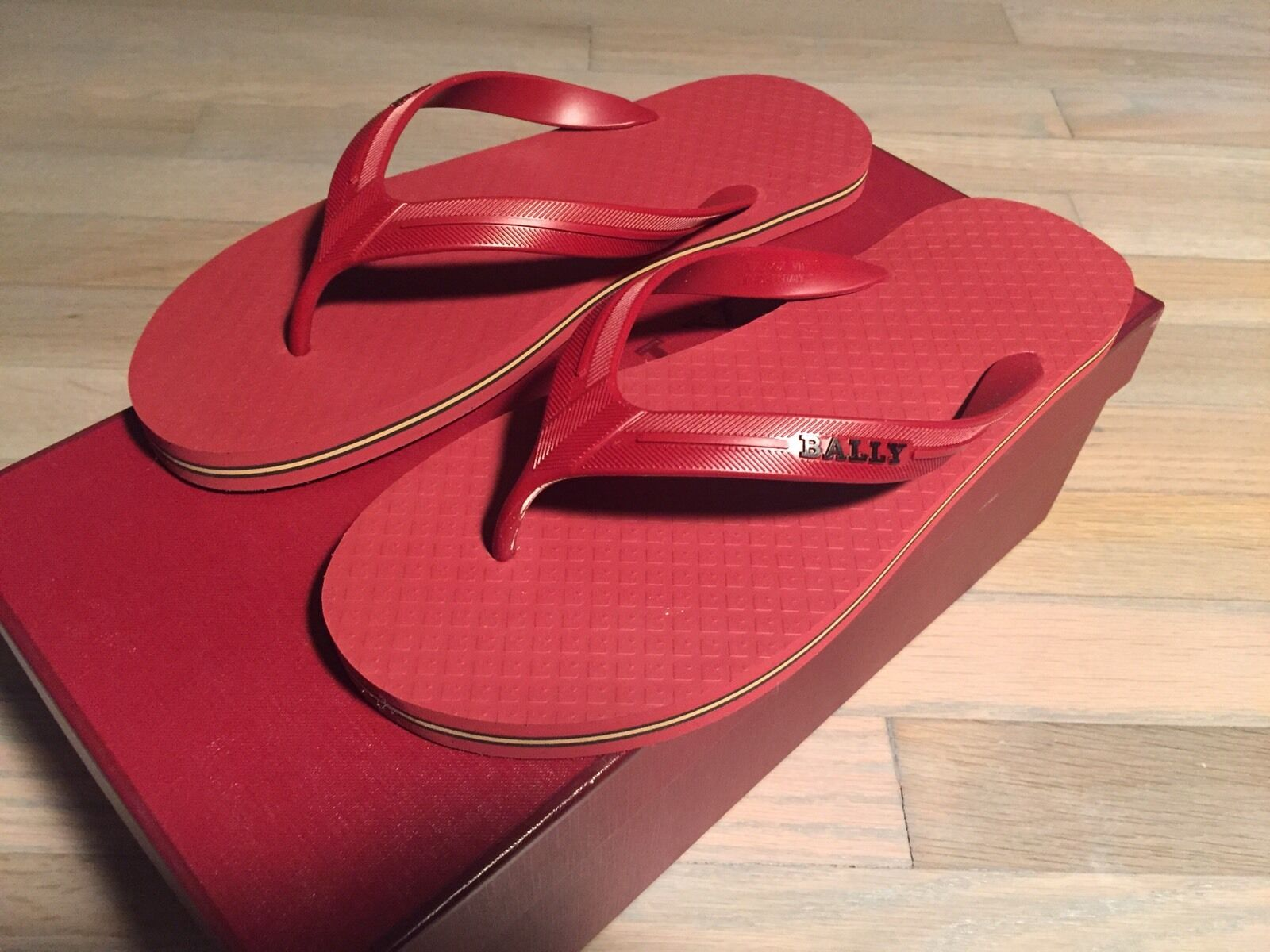 b75dc09ccc8c81 300  Bally Red Red Red Rubber Sandals size US 12 Made in Italy c41607