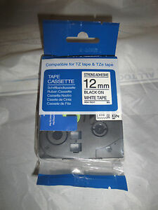 """1COMPATIBLE TZe S231 tzs231 Label 1/2"""" BLACK WHITE 12MM EXTRA ADHEISIVE BROTHER"""