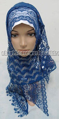 New Style Lace Tassel Muslim Long Scarf Hijab Islamic Shawls