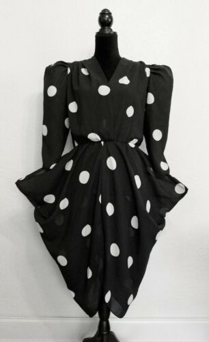 Vintage unique PUFF SLEEVE black&white big polka d