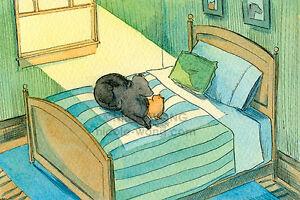 4x6-PRINT-Sharing-a-Sunbeam-artist-cat-pets-mutt-Labrador-dog-bedroom