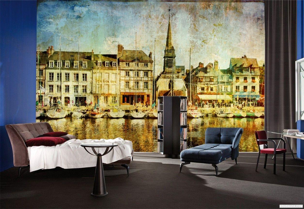 3D Ölgemälde Wasser Stadt 74 Tapete Wandgemälde Tapete Tapeten Bild Familie DE