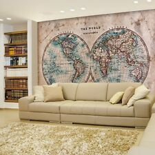 Two Hemisphered Antique Full Color Map of the World - Wall Mural - 66x96 inches