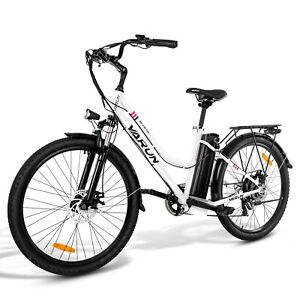 "VARUN white BK02 26"" Stadt e-bike Elektrofahrrad Damen/Heren Fahrrad - Weiß"