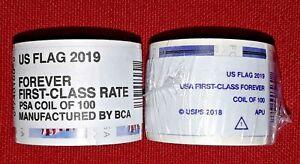 Two (2) Rolls / Coils of US FLAG 2019 Forever USPS Postage Stamps. FV $110.00