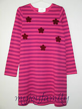 HANNA ANDERSSON Velvet Flowers Dress Zing Pink Purple Stripe 140 10 NWT
