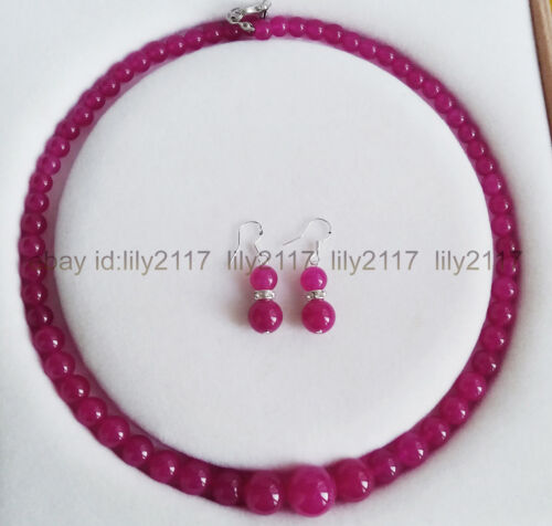 Fashion Beautiful 6-14mm Rose ruby Round Beads Necklace Earrings Set 18 Inch