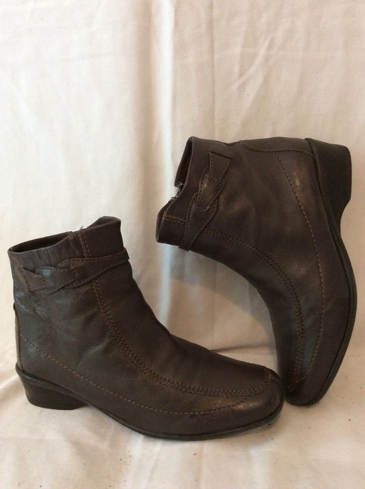 Lotus Brown Ankle Leather Boots Size 4