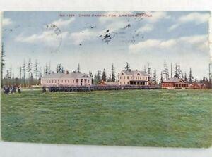 Postcard-Divided-Back-1909-Army-Dress-Parade-amp-band-Ft-Lawton-Seattle-WA