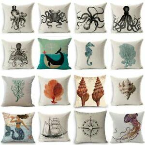 Cushion-Ocean-Sofa-Case-Marine-Cover-Pillow-Creature-Linen-Animal-Cotton-Cover
