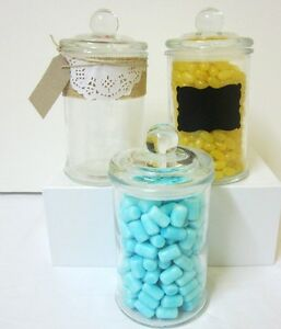 3x-750ml-Small-Glass-Jars-Candy-Buffet-Lolly-Jar-Wedding-Apothecary-Candle