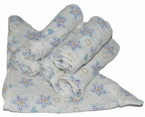 6x Muslin Squares 100/% Cotton Heart And Blue Star 70 x 70 cm