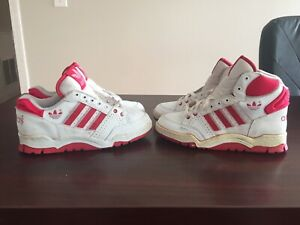 Details about Vintage Adidas Basketball Shoes 80s Old Deadstock Sz 4 Ewing High Top Red White