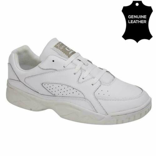 MENS NEW CASUAL LEATHER WIDE FITTING GYM RUNNING WALKING DRIVING TRAINER SHOES