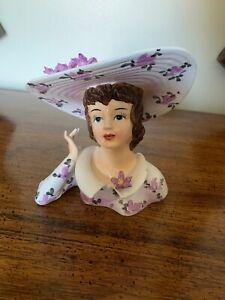 Head-Vase-Lefton-Japan-1343A-Purple-Flowers-Bonnet-Porcelain-6-Inch-Tall-Vintage