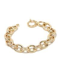 Technibond Basket Weave Polished Oval Link Bracelet 14k Yellow Gold Clad Silver