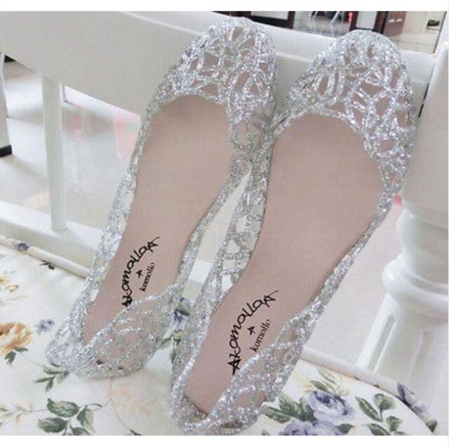Women's Casual Shoes Jelly Hollow Out Flat Heel Sandals Flip Flops Size Beach K8