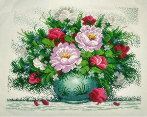 New-Completed-finished-cross-stitch-034-Beautiful-Flowers-Vase-034-home-decor-gift-sale