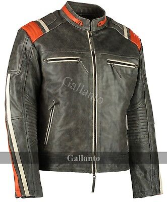 Men's Distressed Orange Striped Motorcycle Cowhide Leather Jacket Cafe Racer