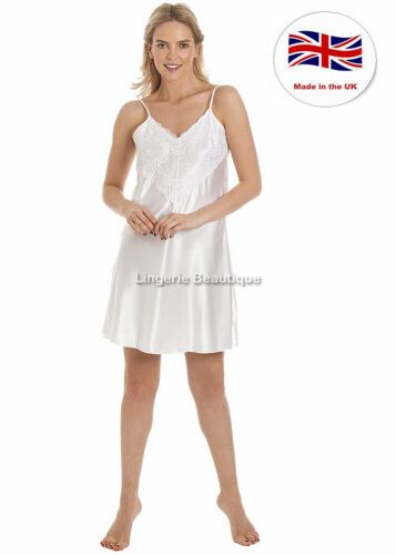 English Made Ladies Satin Knee Length Nightdress Many Colours Size 10-28