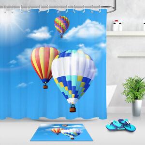 Flying Hot Air Balloon Blue Sky Fabric, Hot Air Balloon Bathroom Decor