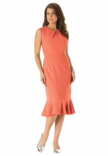 Roaman/'s Flounce Sheath Dress Sizes 16W 18W 20W Plus Size Tropical Melon