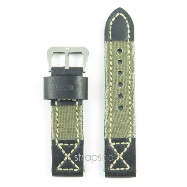 StrapsCo Green Thick Vintage Canvas & Leather Denim Watch Band Strap fit Panerai