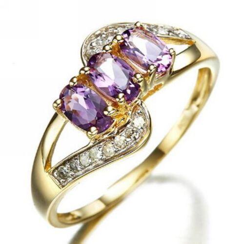 Luxe Taille 6-10 Amethyst 18K Gold Filled Femme Bague de fiançailles bijoux cadeau