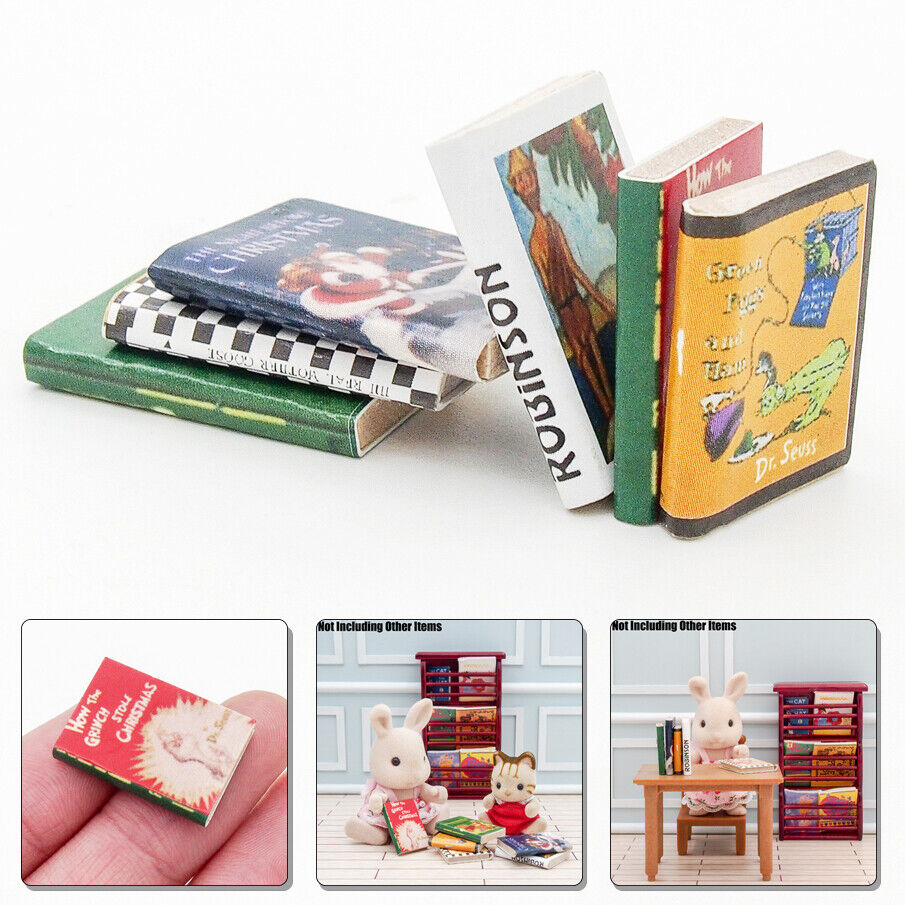Dollhouse Miniature Set of 16 Assorted Hardcover Books