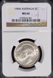 1944 S Australia Florin, 2 Shillings, NGC MS 64