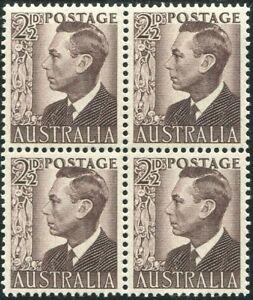 Australia-1951-SG237c-2-d-purple-brown-KGVI-block-MNH