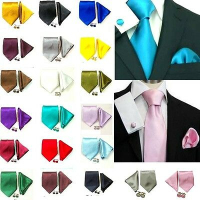 New Solid Mens Silk Tie Set Wedding Groom Party Dress Necktie Hanky Cufflinks ST