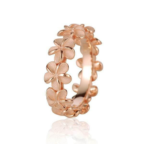 ROSE GOLD PLATED SILVER 925 HAWAIIAN 5MM PLUMERIA FLOWER LEI RING SIZE 3 - 10