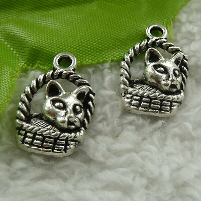 free ship 84 pcs tibet silver cat charms 22x14mm #3737