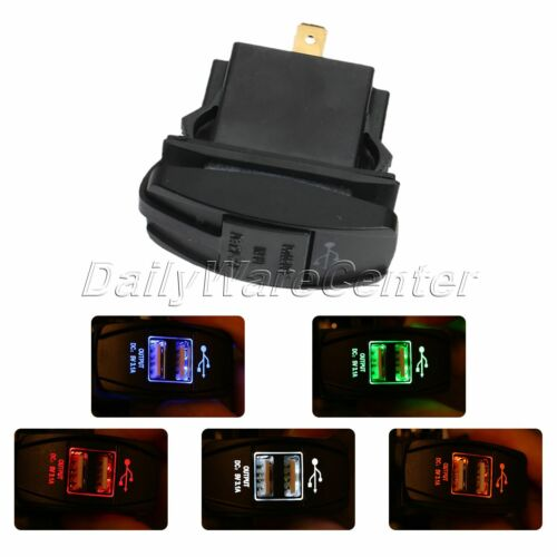 Motorcycle Waterproof Car Dual USB Power Supply Charger Socket Green LED 12V