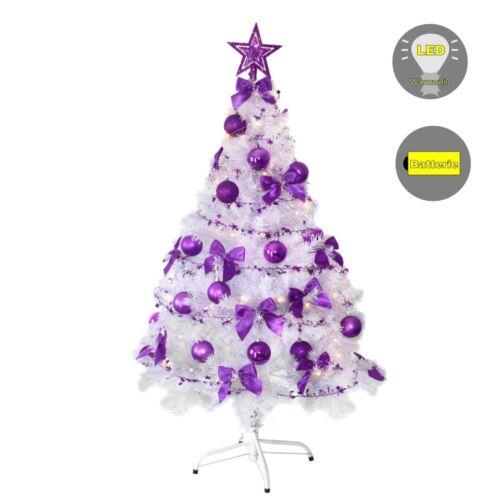 Weihnachtsbaum Christbaum Tannenbaum 120 cm weiss geschmückt mit Lichterkette