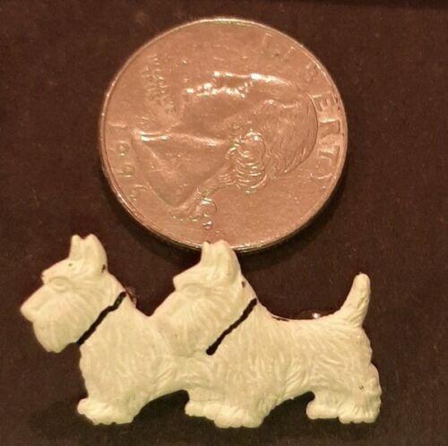 Vintage Brooch - White Scottie Dog Novelty Brooch… - image 1